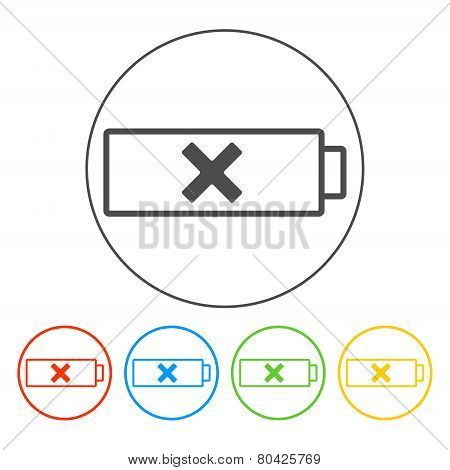 Battery  Icon, Vector Illustration. Flat Design Style