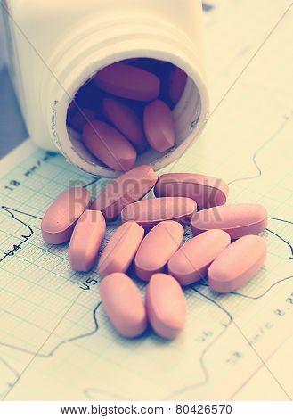 Medicinal Pills On Human Cardiogram