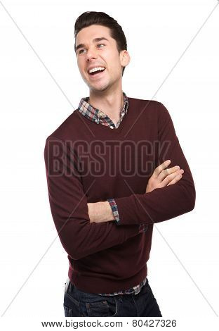 Happy Young Man Laughing With Arms Crossed
