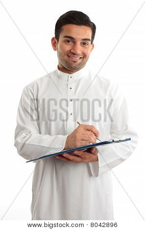 Smiling Businessman Writing In Folder