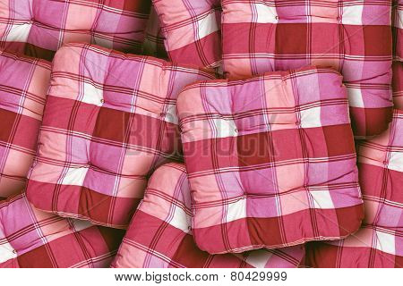 Plaid Red Cushions