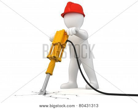 Worker with jackhammer