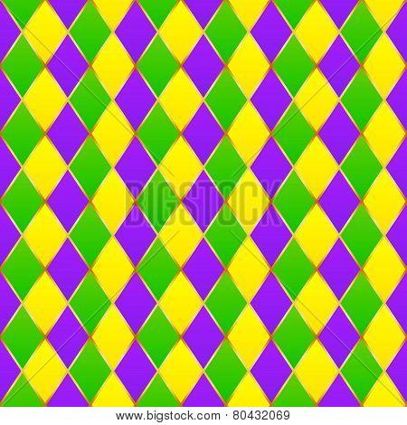 Green, purple, yellow grid Mardi gras seamless pattern