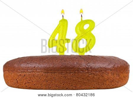 Birthday Cake With Candles Number 48 Isolated