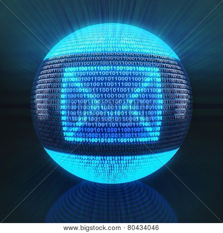 Email symbol on globe formed by binary code