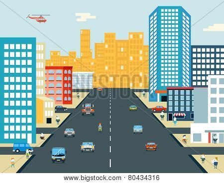 Live City Street People Life Car Ride Background Flat Design Vector Illustration