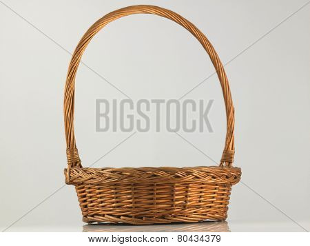 rattan basket on the white background