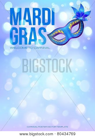 Blue Mardi Gras poster template with bokeh effect and carnival mask