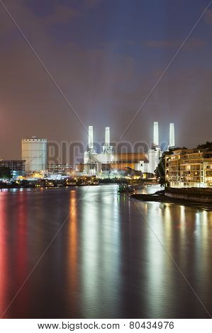 Battersea Power Station In London At Night