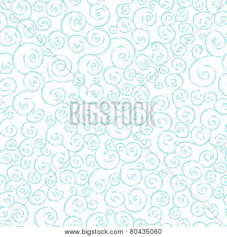 Graceful seamless pattern with hand drawn swirls
