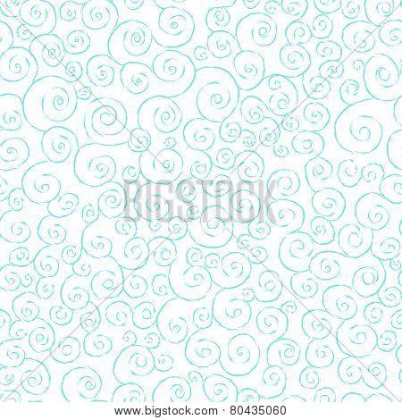 Graceful seamless pattern with hand drawn swirls