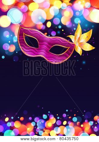 Pink carnival mask and bokeh lights dark blue poster background