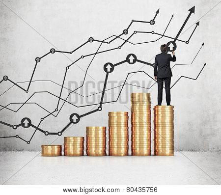 Businessman Standing On Coins