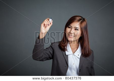 Asian Business Girl Smile Write In The Air