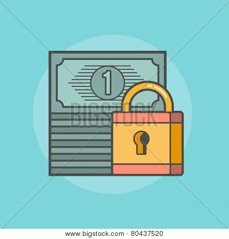 Stack Of Banknotes With A Padlock
