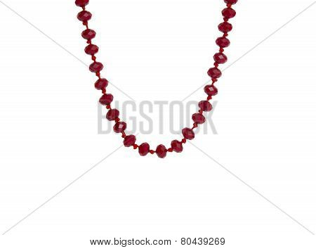 Red Beads Necklace Isolated On White Background