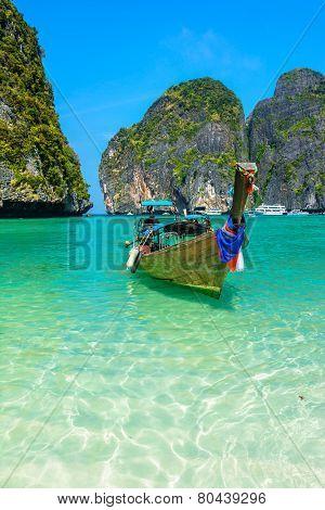 Long-tail boats in Maya Bay, Thailand