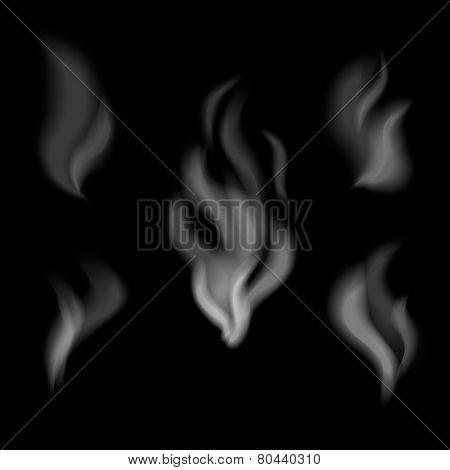 Realistic smoke design. Set of vector smoke on black background