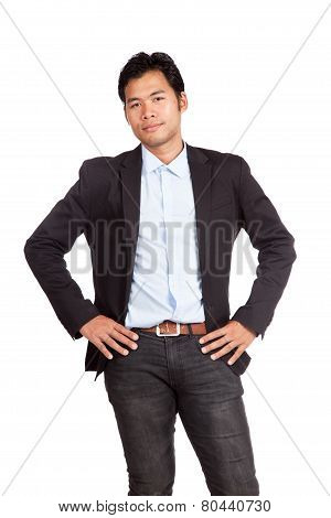 Asian Businessman In Casual Suit