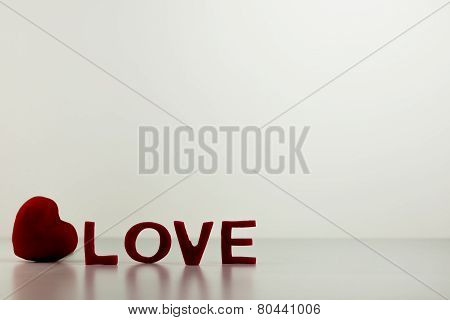 Red Love Letters With Heart On Table