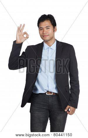 Asian Businessman Show Ok Sign
