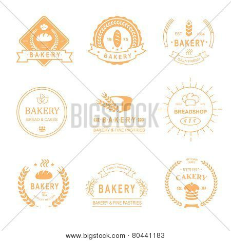 set of bakery and bread shop logos, labels, badges  design elements isolated