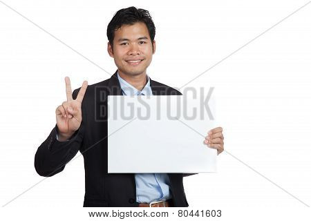 Asian Businessman Show Ok Sign With Blank Sign