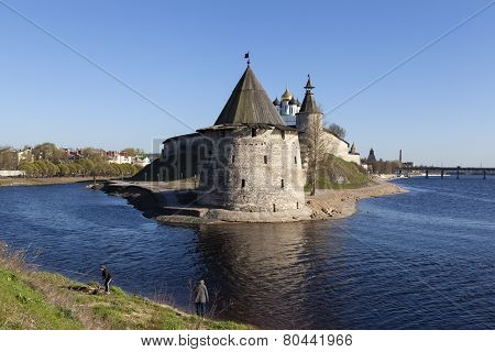 PSKOV, RUSSIA - APRIL 24, 2014: Photo of Pskov Kremlin on the river Great.