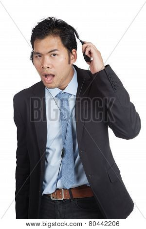 Asian Businessman Can't Hear You