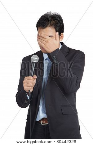Asian Businessman To Shy To Speak Close His Face