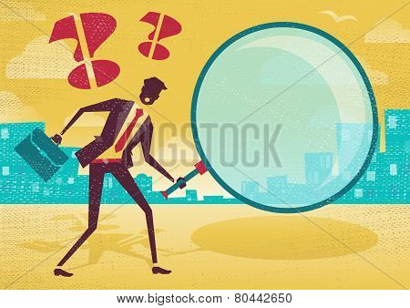 Businessman Uses Magnifying Glass To Find Clues.