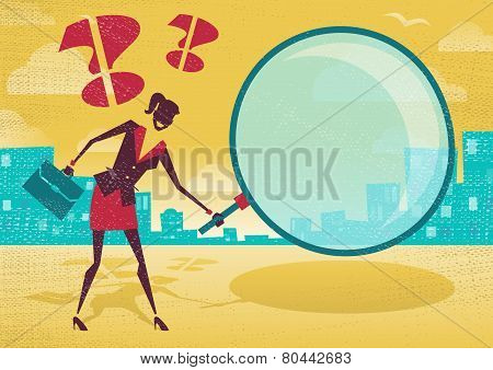 Businesswoman Uses Magnifying Glass To Find Clues.