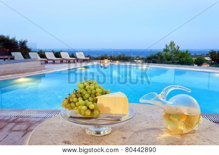 Food On A Table By The Pool