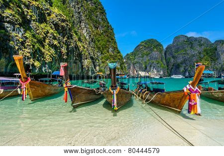 Long-tail boats in Maya Bay, Thailand