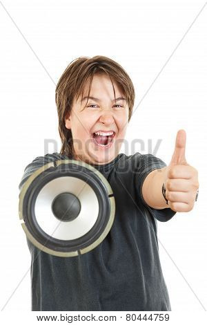 Boy Smiling And Confidently Posing With Thumb Up With Speaker