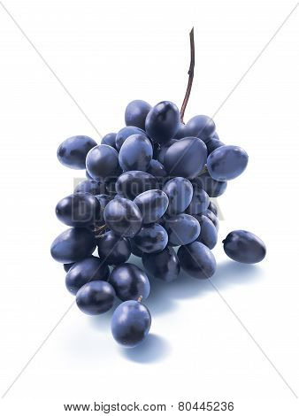 Tiny Dry Blue Grapes Bunch Isolated On White