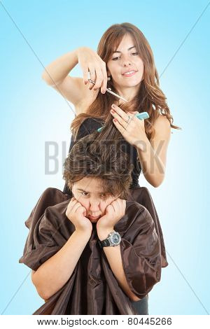 Boy With Face Expression With Long Hair At Hairdresser