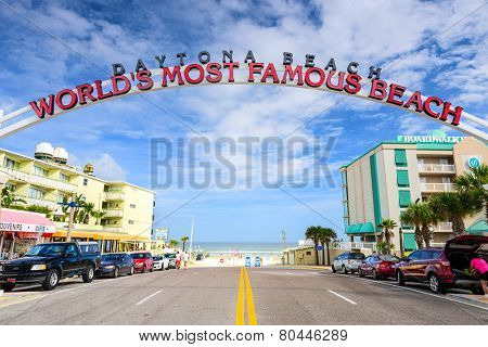 DAYTONA BEACH, FLORIDA - JANUARY 3, 2015: Daytona Beach sign. The popular spring break destination is dubbed