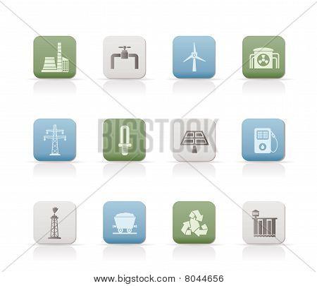 Iconos de la industria de energía y electricidad