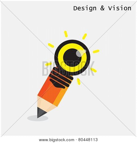 Creative Pencil And Light Bulb Design With Vision Concept.