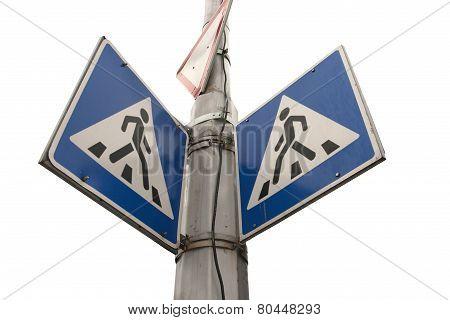pedestrian cross warning traffic sign