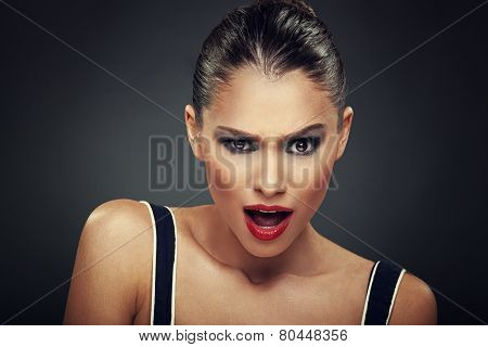 Beautiful Woman Has A Grimace On His Face