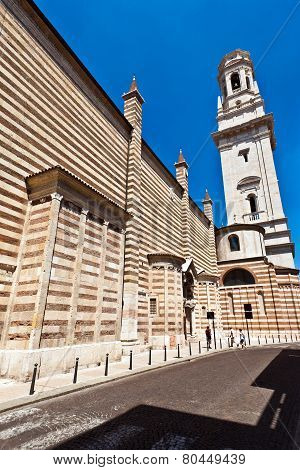 The Facade Of The Catholic Middle Ages Romanic Cathedral Iof San Zeno In Verona