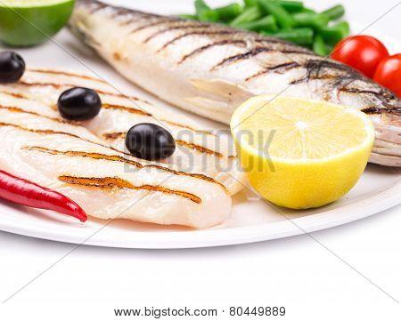 Close up of pangasius and sea bass.