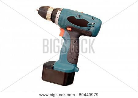 Cordless drill under the white background