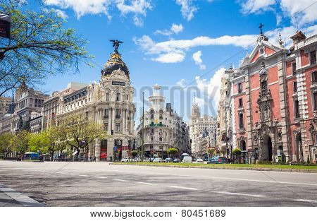 Metropolis Building And Grassy Building, Madrid