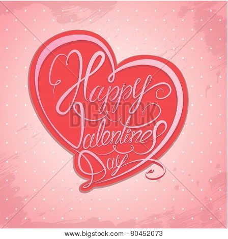 Happy Valentine`s Day. Calligraphic Element, Hand Written Text In Heart Shape On Pink Polka Dots Bac