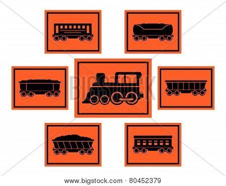 red rail road icons set