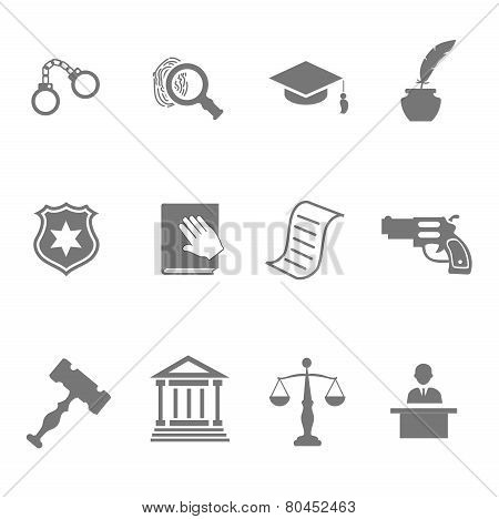 Set of black and white silhouette justice police icons