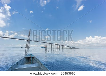 The center of Manaus Iranduba Bridge, also called Ponte Rio Negro in Brazil